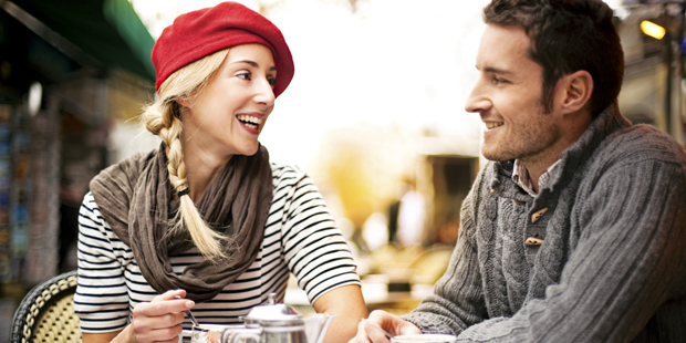 Couple having tea in cafe